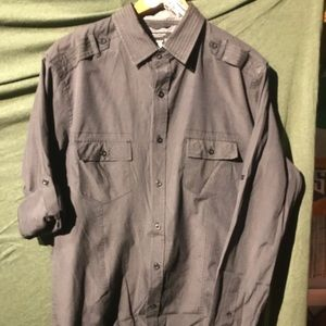 Structure gray button down long sleeve shirt